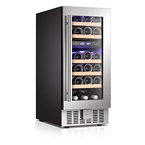 "Antarctic Star 15"" Wine Cooler Beverage Refrigerator Beer Mini Fridge 28 Bottles Dual Zone Built-in Freestanding Stainless Steel Double-Layer Tempered Digital Temperature Memory Function Glass Door"