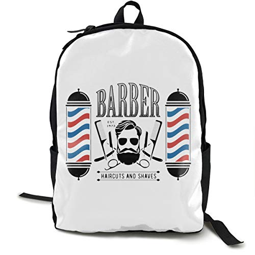 Classic Worlde Backpack Bag Barber Shop With Hipster Face Large Capacity Novelty Laptop Bag For Kids Women Men