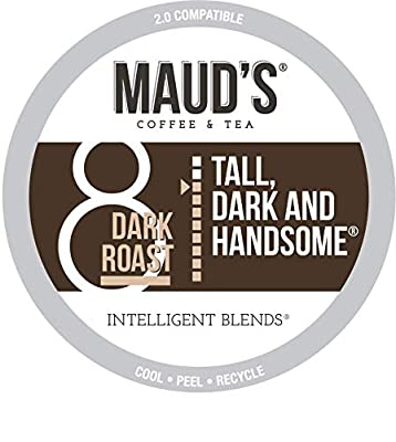 Maud's Dark Roast Coffee (Tall Dark and Handsome), 100ct. Recyclable Single Serve Dark Roast Coffee Pods – 100% Arabica Coffee California Roasted, Dark Roast K Cups Compatible