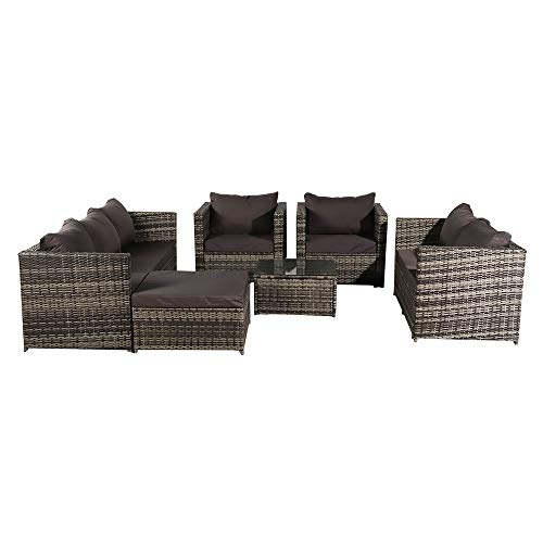 Bonnlo 8 Seater Rattan Conversation Set, Rattan Garden Furniture Set Outdoor Furniture Wicker Patio Coffee Table and Chair Set with Glass Top and Soft Cushions,Grey