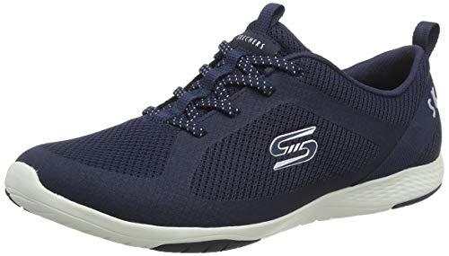 Skechers Lolow, Zapatillas Mujer, Azul (Navy Mesh/Hot Melt/White Trim Nvy), 37 EU