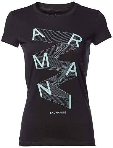 Armani Exchange A|X Damen Falling Letters Logo Short Sleeve Graphic Tee T-Shirt, schwarz, Klein