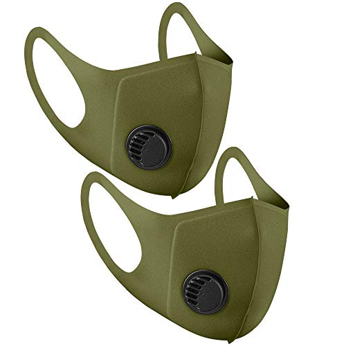 Mundschutz aus Stoff, wiederverwendbar, mit Luftventil und Ohrschlaufen, atmungsaktiv, weich, waschbar, langlebig, für den täglichen öffentlichen Gebrauch, Dunkelgrün