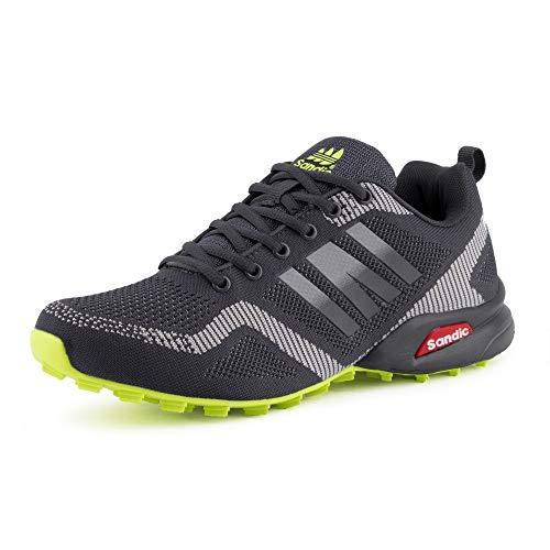 Fusskleidung Herren Sportschuhe Sneaker Runners Strick Textil Laufschuhe Freizeitschuhe Turnschuhe Gym Neon Dunkelgrau Grau Grün EU 41
