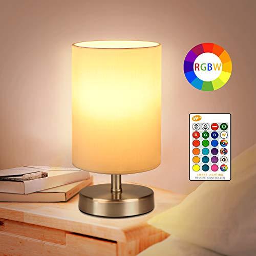 Nachttischlampen Tischlampe RGB Warmweiß mit Fernbedienung 5W LED Tischleuchten Dimmbar Schreibtischlampen Stimmungslichter für Schlafzimmer, Kinderzimmer, Nachttisch, Fensterbank