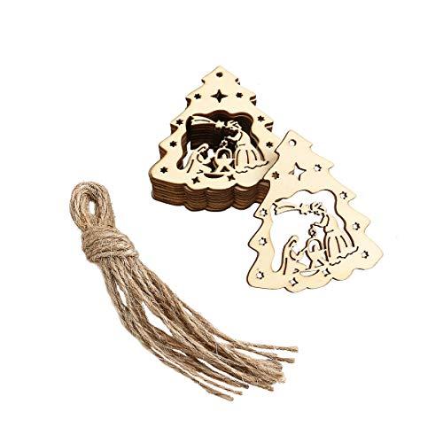 Vosarea 10pcs Adornos de Madera decoración de Navidad el Nacimiento de Jesús patrón Colgante con Cuerdas de cáñamo