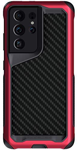 Ghostek Atomic Slim Design für Galaxy S21 Plus Hülle mit schützendem Metall-Stoßdämpfer aus super robustem, leichtem Militär-Aluminium, Galaxy S21+ Plus 5G (6,7 Zoll) (Carbonfaser - Phantomrot)