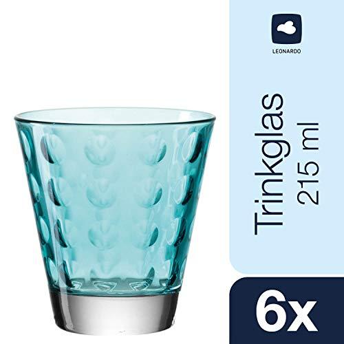 Leonardo Optic Becher klein Laguna, 6-er Set, 215 ml, türkisfarbenes Klarglas mit Colori-Hydroglasur, 017995