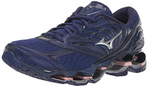 Mizuno Women's Wave Prophecy 8 Running Shoe, Blueprint-Silver, 9.5 B US