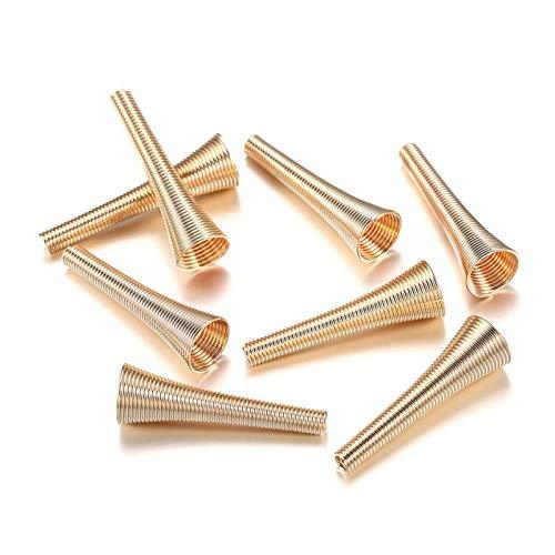 WEIGENG 12 tapones de metal con forma de embudo de resorte para abalorios y accesorios para hacer joyas (color KC Gold)