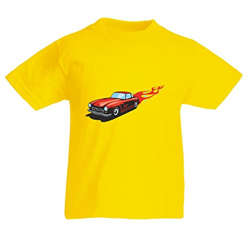 Camiseta con diseño de coche deportivo clásico con llamas rojas America Amy USA Auto Car Ampliación V8 V12 Motor Llanta Tuning Mustang Cobra para hombre mujer niños 104 – 5 x l amarillo Para Hombre Talla : X-Large