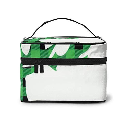 Organisateur cosmétique de Voyage d'orignal de Plaid Vert et Noir Sac de Rangement portatif d'artiste, Sacs de Toilette multifonctionnels