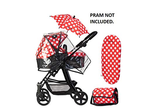 Accessoirepakket voor Silver Cross-poppenwagen - stof Limited Edition Red Polka Dot