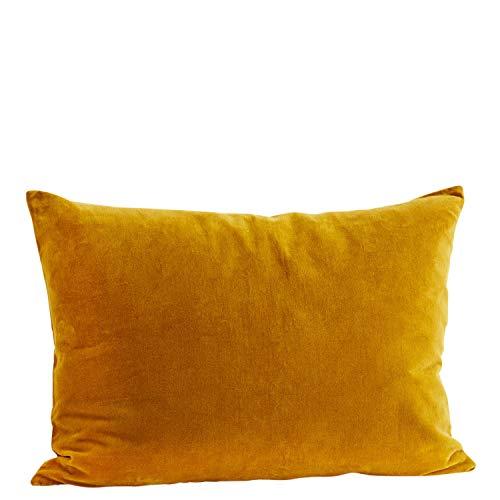 Madam Stoltz Kussensloop Velours in de kleur mosterdgeel van puur katoen, afmetingen: 50x70cm