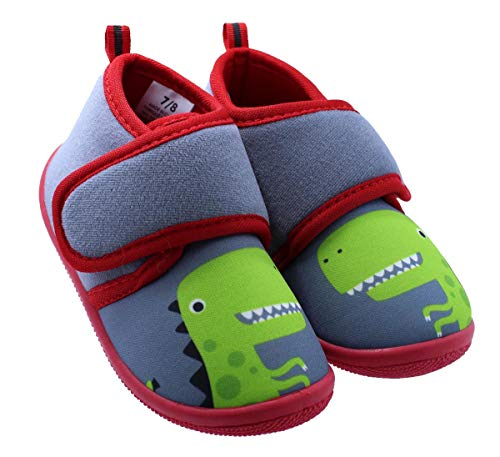 Black and White Toddler Boys Dinosaur Daycare Slippers , Grey and Red, (7-8 M US Toddler)