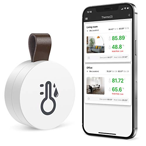 ORIA Kabelloses Bluetooth Thermometer Hygrometer, Innen Thermo-Hygrometer Mini mit Daten Export-funktion, kompatibel mit ios und Android für Wein,Wohnzimmer, Babyzimmer, Haus etc