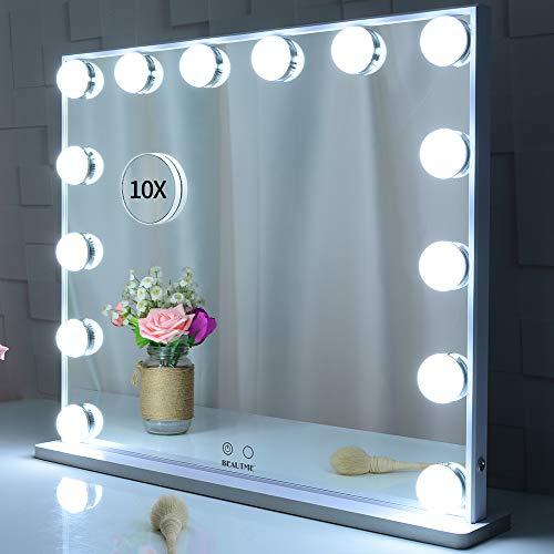 BEAUTME Espejo de vanidad iluminado con 14 luces de bombillas LED, espejos cosméticos de maquillaje estilo Hollywood con diseño de control táctil, espejos de vanidad montados en la mesa o en la pared