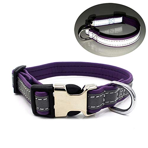Collares Para Perros,Simple Moda Caja Violeta Reflectante Collares De Pet,Transpirable Suave Collar Ajustable Para Pequeñas/Medianas/Grandes Perros /Cat, Fácil Diseño Hebilla Para Caminar/Formaci