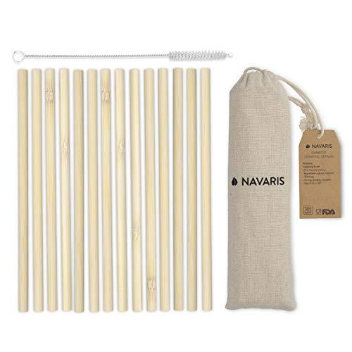 Navaris Cannucce Riutilizzabili in bambù - Set 14x Cannuccia 20cm in Legno - Cannucce Ecologiche Biodegradabili Multiuso - con Borsa e Spazzolina