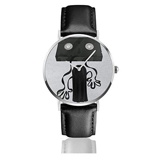 Unisex Business Casual The Ring Video Tape Reel Watch Quarz Leder Uhr mit schwarzem Lederband für Männer Frauen Young Collection Geschenk