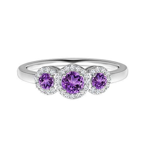 Shine Jewel 0.75 CTW Anillo de Tres Piedras con Piedras Preciosas de Amatista Redonda con Acentos de Solitario Plata 925 (14)