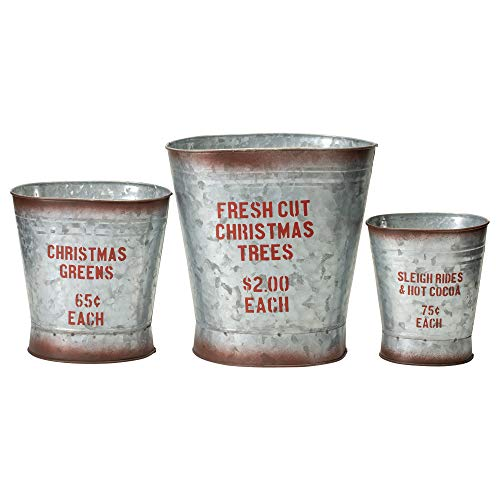 Your Heart's Delight Sleigh Christmas Trees Silver Toned 10 x 10 Metal Decorative Christmas Containers Set of 3