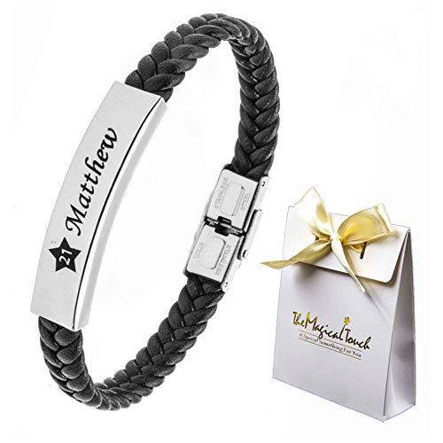 TMT Personalised Men's Leather Bracelet Adjustable Size for Dad ID Identity Birthday gift Name Engraved Black/Brown Best Men Boyfriend