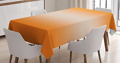 Ambesonne Ombre Tablecloth, Beach Desert Hot Summer Inspire with Ray in Middle Orange Colored Modern Design Art Print, Dining Room Kitchen Rectangular Table Cover, 60' X 84', Orange White