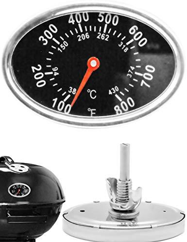 HomeTools.eu® – Termómetro analógico para barbacoa, resistente a la temperatura, para reequipar barbacoa, ollas de ahumado, horno de horno de 7,5 cm, ovalado, 38 °C – 430 °C