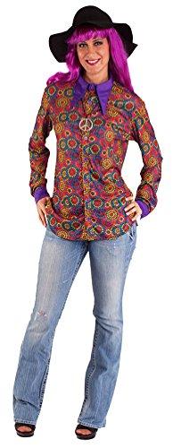 Karneval-Klamotten Hippie Hemd Damen Herren Flower-Power Mehrfarbig 60er Jahre Damenkostüm