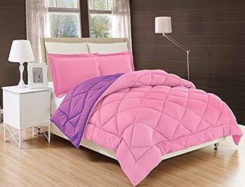 Elegant Comfort All Season Comforter and Year Round Medium Weight Super Soft Down Alternative Reversible 3-Piece Comforter Set King Pink/Purple