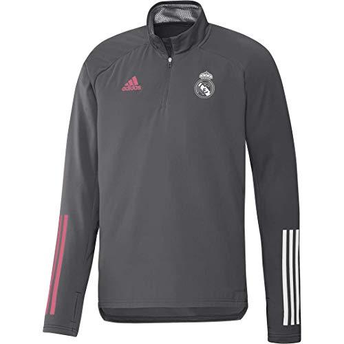 Adidas Real Madrid Temporada 2020/21 Sudadera con Cremallera Oficial, Unisex, Gris, XS