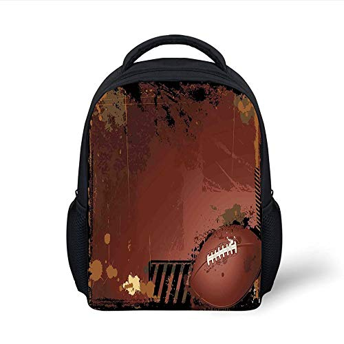 Kids School Backpack Sports,Maroon Grunge Rugby Theme Game Elements Competition Win Sports Artisan Image,Brown Black Plain Bookbag Travel Daypack
