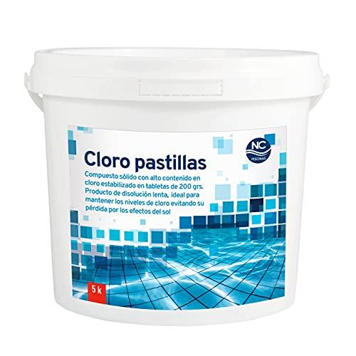 Cloro para Piscinas en Pastillas 5 Kg | Alta concentración | Disolución Lenta | Fabricado en España | Válido para Piscinas de Obra, hinchables O Desmontables