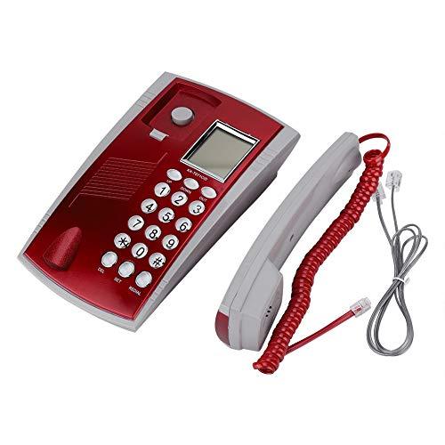 Agatige Teléfono con Cable, KX-T071CID Extensión de teléfono en inglés con Cable con Altavoz Grabador de Voz Interfaz RJ45 (6P2C)(Rojo)
