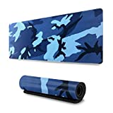 Navy Camo Blue Gaming Mouse Pad XL, Extended Large Mouse Mat Desk Pad, Stitched Edges Mousepad, Long Non Slip Rubber Base Mice Pad, 31.5 X 11.8 Inch