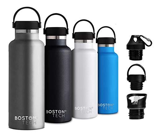 Boston Tech SP2 SP223 Botella de Agua Acero Inoxidable con Doble Pared al vacío, sin BPA Ecológica, Mantiene Bebidas frías por 24h y Calientes por 12h, Reutilizable para Deporte, Gimnasio, Viajes