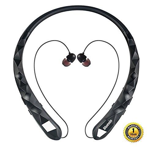Bluetooth Headphones Bluenin Wireless Headphones Neckband Retractable Earbuds Noise Cancelling Stereo Headset Sport Earphones with Mic (Rose Gold)