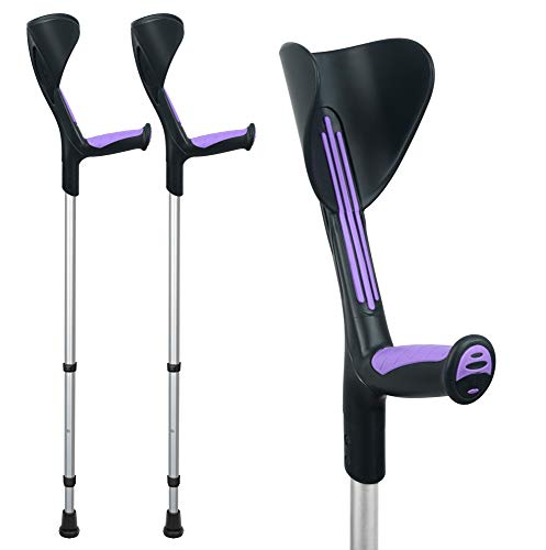 ORTONYX Forearm Crutches 1 Pair - Ergonomic Handle with Comfy Grip - High Density Sturdy Aluminum - 308lb Max / 200915