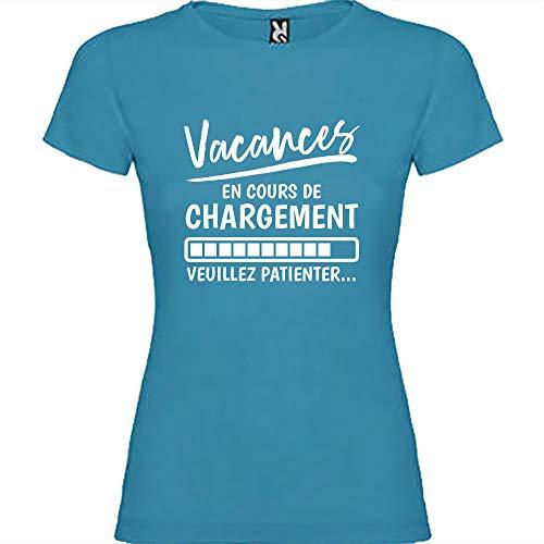 Tip Top Tshirt T-Shirt Femme Vacances en Cours de Chargement - Bleu Impression Blanche XXL