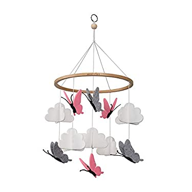 Sorrel and Fern Crib Mobile Butterflies in The Clouds Grey and Pink Baby Ceiling Nursery Decor