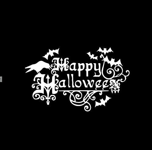 YUFUD Autoaufkleber Design Aufkleber Design Aufkleber Interessant Happy Halloween Fledermaus Dekor Auto Aufkleber Silhouette Zubehör Vinyl 18X11,1 cm 2PCS