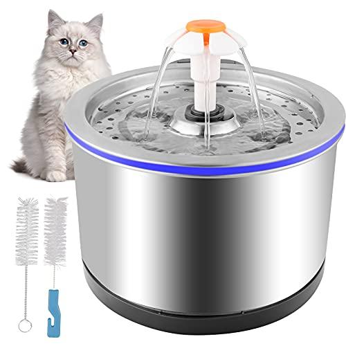 Colmanda Fuente para Gatos, 2,5 litros Bebedero Gatos y Perros de Acero Inoxidable Bebedero Gatos Súper Silenciosa, Dispensador de Agua para Gatos, Perros, Mascotas