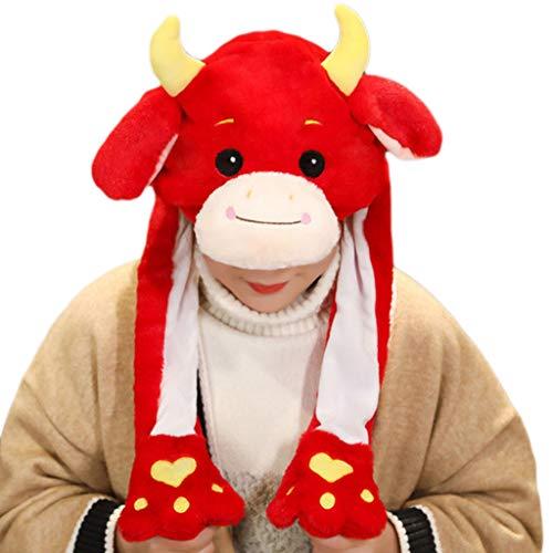 Leiouser - Gorro de peluche con orejas de salto en movimiento para año nuevo chino, juguete de peluche con diseño de vaca y ganado para fiestas y fotos para niños adultos