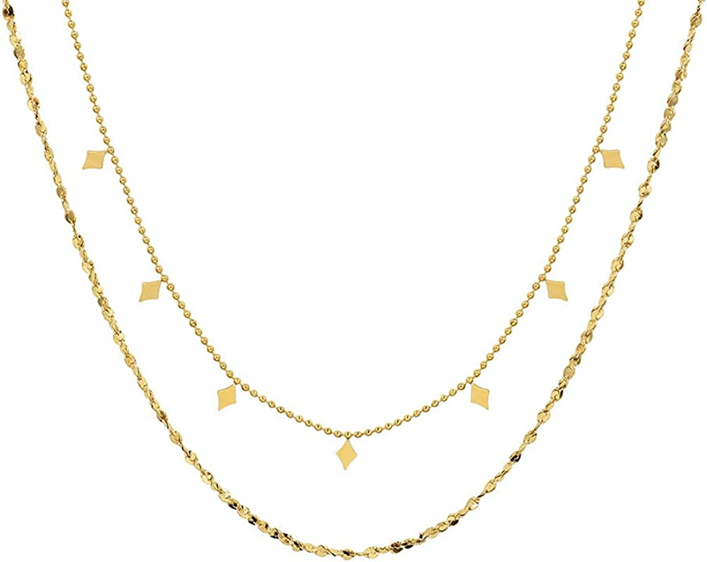 lureme Dainty Layered Choker Necklace 18K Gold Plated Rhombus Tassel Necklace Twisted Chain Necklace for Women (nl006271)