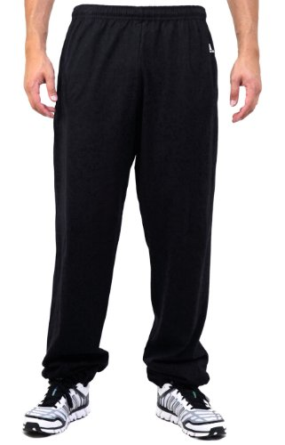 Russell Athletic Men's Big and Tall Cotton Jersey Pant with Pockets, Black, 2X