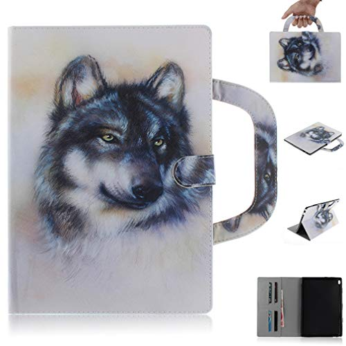 LMFULM Case for Lenovo Tab4 10 / Tab4 10 Plus (10.1 Inch) PU Magnetic Leather Case Handbag Design Wolf Pattern Smart Cover Wake/Sleep Function Stand Case for Lenovo Tab4 10 / Tab4 10+