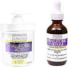 Advanced Clinicals Hyaluronic Acid Cream and Hyaluronic Acid Serum skin care set! Instant hydration for your face and body. Targets wrinkles and fine lines. Spa size 16oz cream & large 1.75oz serum.