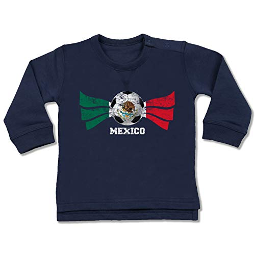 Shirtracer Fußball-Europameisterschaft 2021 - Baby - Mexico Fußball Vintage - 6/12 Monate - Navy Blau - Mexico Pullover - BZ31 - Baby Pullover