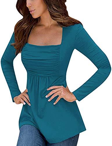 Yesfashion Damen quadrat-ansatz mit rüschen besetzt tops empire-taille tunikas langarm mittel indigo blau